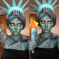 Next Halloweeeeen? Zombie Lady Liberty. Subtle (maybe), clever (definitely), political statement costume. Halloween Zombie, Halloween Makup, Halloween Looks, Halloween Fancy Dress, Halloween 2017, Couple Halloween Costumes, Holidays Halloween, Halloween Party, Halloween Decorations