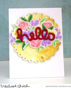 LF Fab Flowers. Fancy Scalloped Circle that has been inked with Distress Oxide in Fossilized Amber to give it a beautiful vintage look! The bold red Scripty Hello looks fabulous with the pretty pastel Fab Flowers!