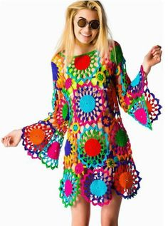 Outstanding Crochet: PSYCH OUT Crochet Dress from UNIF cool funky twiggy hippy , pagan festival tunic dress pattern ,make it in one colour in a oaty natural cream for a more sophsticated peasant chic lace crochet tunic dress Crochet Hippie, Beau Crochet, Mode Crochet, Crochet Granny, Knit Crochet, Crochet Tops, Rainbow Crochet, Freeform Crochet, Hippie Dresses