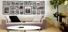 Stylish 20 Piece Photo Frame Wall Set in Black or White Wall Frame Set, Frames On Wall, Picture Arrangements On Wall, Frame Layout, Photo Frame Design, Living Room Windows, Living Room Modern, Living Area, Photos