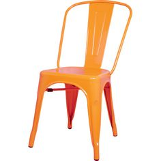 Perfect pulled up to your kitchen or anchored in the den as extra guest seating, this stylish side chair features a stackable design and an orange finish.