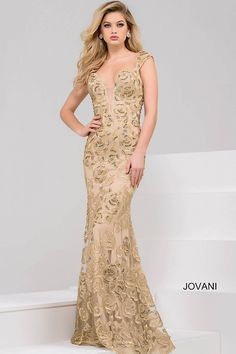 cf6db164ac7 Beautiful floor length form fitting gold lace evening gown with  embellishments features cap sleeve bodice and