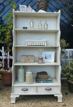 Shabby chic painted waterfall bookcase in Annie Sloan's old white with a dark wax vintage finish and Paris grey detailing,  by Imperfectly Perfect xx