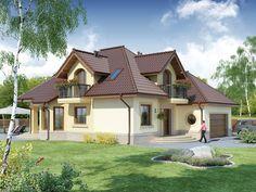 Projekat atraktivne kuće s potkrovljem i garažom – Svetonius Beautiful Home Designs, Beautiful Homes, Design Case, Little Houses, Small Houses, Architecture Design, House Plans, Places To Visit, House Design
