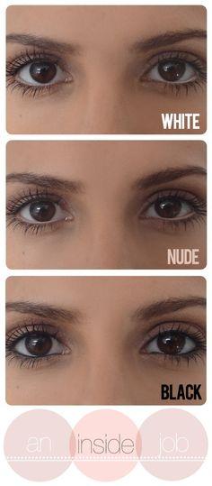 White eyeliner, Nude eyeliner, Black eyeliner