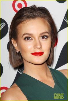 Leighton Meester's red lips + big lashes