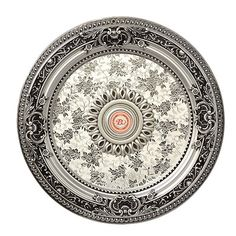 Petite Silver Ceiling Medallion - World of Decor Chandeliers, Round Chandelier, Bronze Chandelier, Chandelier Ceiling Lights, Decorative Chandelier, Hollow Wall Anchors, Silver Ceiling Fan, Accent Ceiling, Swarovski