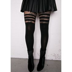 Get Faux Thigh-High Tights ($10) ❤ liked on Polyvore featuring intimates, hosiery, tights, thigh high tights, opaque thigh high stockings, thigh high fishnet stockings, striped pantyhose and thigh high hosiery