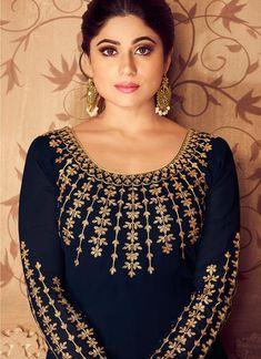 Dark Blue Golden Traditional Party Wear Anarkali Suit – Hatkay.com