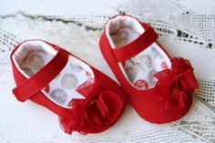 Red ruffle baby girl shoes, red mary janes with chiffon ruffles, infant crib booties, baby summer shoes, dressy slippers via Etsy