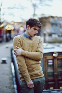 Chambray shirt, camel sweater, beige pants