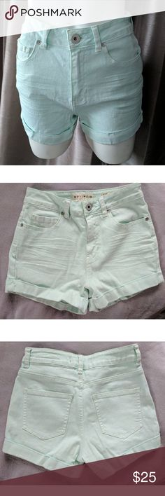 Bullhead Mint Cuffed Denim High Waisted Shorts New without tags in excellent unworn condition. Coming from a smoke free home.  Size 1. High rise cuffed denim shorts.  Nice Pastel Mint color perfect for Spring and Summer.  98% Cotton, 2% Spandex. Machine wash. PacSun Shorts Jean Shorts