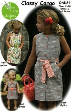 Classy Cargo Dress for Child and Doll by Olive Ann Designs (5-13-13)