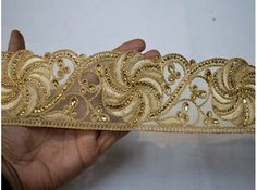 Indian Hand Beaded Bridal Dress Border 9 Yd Trim Ribbon Golden Craft Lace Ideal Gift For All Occasions Embellishments & Finishes