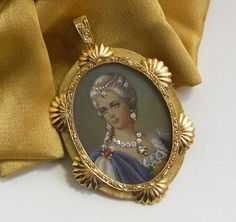 18K Gold Antique Italian Hand Painted Brooch Pendant w Diamonds Ruby Emerald    http://stores.ebay.com/The-Rolling-Wave