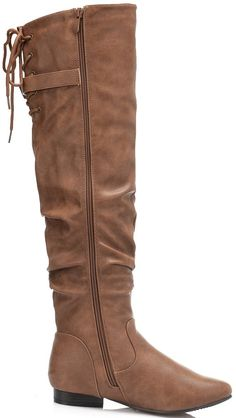 e3a2795140a DREAM PAIRS Womens Colby Camel PU Over The Knee Pull On Boots Wide Calf 7 M