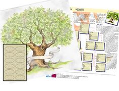 """Decorative Family Tree chart - From the Deja Views Time & Again series, this chart is a wonderful way to organize and showcase your family genealogy! Kit Includes: 12"""" x 12"""" Acid-free Parchment Style cardstock featuring a beautifully painted tree print"""