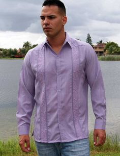 Embroidered Casual Shirt for  Men with a Linen Look,  Long Sleeve non pockets. Lavander. - Traditional Cuban Style.  Best Seller Guayabera. poly cotton fabric with a linen Look.Lightweight and Wrinkle free.These guayaberas are done in fine micro fiber that is cool.. Machine washable, cold wash. Wash and wear.Available is subject to change.