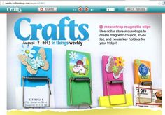 Mousetrap magnetic clips!  Cute tutorial from Crafts n things!
