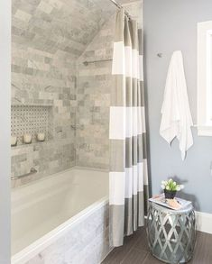 A gorgeous bathroom remodel with a tile shower, white trim and a fresh coat of b.A gorgeous bathroom remodel with a tile shower, white trim and a fresh coat of blue paint. See 10 of the most popular bathroom remodeling ideas homeow. Bad Inspiration, Bathroom Inspiration, Bathroom Ideas, Shower Ideas, Bathroom Designs, Budget Bathroom, Bathtub Ideas, Bathroom Layout, Bathtub Designs