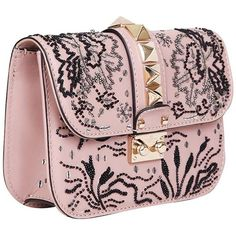 Valentino Garavani Lock embroidered leather bag (127,080 PHP) ❤ liked on Polyvore featuring bags, handbags, shoulder bags, summer shoulder bags, valentino purses, pink shoulder bag, summer handbags and pink purse