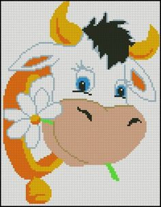 Beginning Cross Stitch Embroidery Tips - Embroidery Patterns Cross Stitch Cow, Cross Stitch For Kids, Beaded Cross Stitch, Cross Stitch Animals, Cross Stitch Charts, Cross Stitch Embroidery, Embroidery Patterns, Cross Stitch Patterns, Loom Patterns