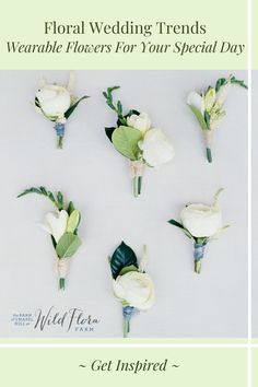 Learn how to incorporate beautiful wearable flowers into your wedding day. The Barn of Chapel Hill's latest blog post has 5 of the best ways to include this trend into your wedding day, everything from wearable bridesmaid's bouquets to florals for your pets. Browse the gallery and be inspired to recreate these looks for your celebration. Floral Wedding, Wedding Bouquets, Wedding Flowers, Farm Wedding, Wedding Hair, Flora Farms, Wedding Etiquette, Special Flowers, Hair Flowers