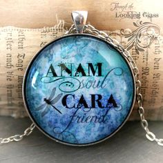 Friendship Gift: ANAM CARA soul friend inspirational Irish Celtic word art pendant necklace by Jessica Galbreth