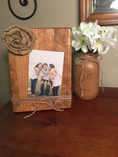 4x6 Rustic wooden picture frame with burlap, Wood picture holder with jute twine, Rustic wood frames https://www.etsy.com/listing/271131881/rustic-wooden-picture-frame-with-burlap