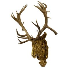 Gilt Red-Deer Stag Head | From a unique collection of antique and modern wall-mounted sculptures at https://www.1stdibs.com/furniture/wall-decorations/wall-mounted-sculptures/