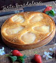 Tarte aux poires bourdaloue Dessert Pizza, My Tea, Nutella, Cake Recipes, Biscuits, Caramel, Sweet Tooth, Deserts, Brunch