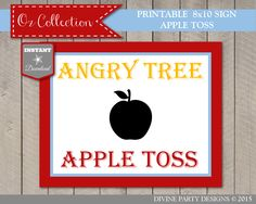 INSTANT DOWNLOAD Wizard of Oz 8x10 Angry Tree Apple Toss Sign / Printable DIY / Game Sign / Oz Collection / Item #115 by DivinePartyDesign on Etsy