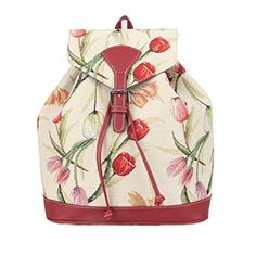 Signare Womens Tapestry Small Flap Buckle Backpack in Floral Tulip Design >>> You can get additional details at the image link.