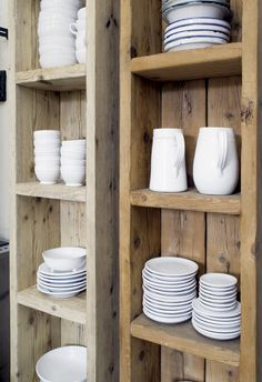 keeping it cozy: reclaimed wood kitchen shelves | kitchen