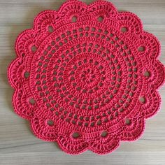 Crochet sousplat made with special string number 6 in red color . Crochet Placemat Patterns, Crochet Mandala Pattern, Crochet Circles, Granny Square Crochet Pattern, Crochet Flower Patterns, Crochet Tablecloth, Crochet Chart, Crochet Designs, Crochet Flowers