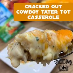 Cracked Out Cowboy Tater Tot Casserole Ranch, bacon and chicken take traditional tater tot casserole to the next level. It's a family favorite! Tator Tot Casserole Recipe, Tater Tot Recipes, Cowboy Casserole, Ground Beef Casserole, Easy Casserole Recipes, Chicken Bacon Ranch Casserole, Gourmet Recipes, Cooking Recipes, Recipes Dinner