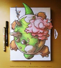 Pokemon Torterra- I love how his tail pops out the page, and the design of the garden on his back.