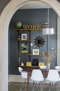 This Frugal Conference room was made using a blend of secondhand goods + new!