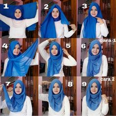 Check out this gorgeous blue hijab, it looks amazing matched to a white outfit, you can wear it with a large collection of colors, to get this look done, follow the steps listed below 1. Fold your hijab on two… Tutorial Hijab Segitiga, Scarf Tutorial, Square Hijab Tutorial, Simple Hijab Tutorial, Headband Tutorial, Hijab Trends, Hijab Ideas, Gaya Hijab, Hijab Chic