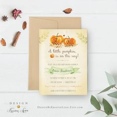 Little Pumpkin Baby Shower Invitation, Fall Baby Shower Invitation, Little Pumpkin Is On The Way by DesignbyKristinLynn on Etsy #pumpkinbabyshower #fallbabyshowerinvitation #babyshowerinvitation