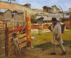 """""""Veräjällä (Portaan kylä)"""" (1889) by Albert Edelfelt"""