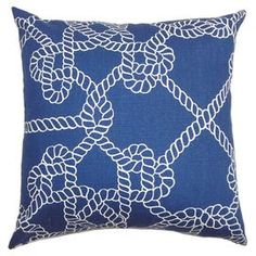 . Product: CushionConstruction Material: Cotton cover and down fillColour: BlueFeatures:  Made in the USA95/5 Feather down insert includedHidden zipper closure Reversible Removable cover  Dimensions: 46 cm x 46 cm Cleaning and Care: Spot clean