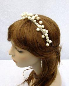 Bridal Headband Pearl Headband Beach Bride by RuthNoreDesigns, $24.00