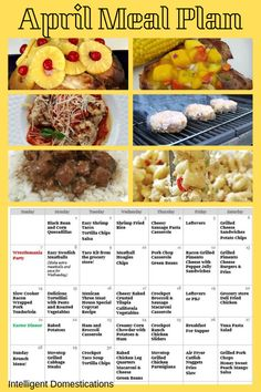 Links to recipes are included in this post. Family Meal Planning for the month of April. Monthly Meal Planning, Family Meal Planning, Family Meals, Menu Planning, Fun Easy Recipes, Easy Meals, Casserole Recipes, Crockpot Recipes, Cheesy Sausage Pasta
