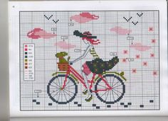 point de croix femme à vélo, bicyclette - cross stitch woman on a bike