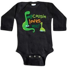 Inktastic My Cousin Loves Me Dinosaur Long Sleeve Creeper Gift For Baby Big Family Members Boys Childs Cute Relative Hws, Boy's, Size: Newborn, Black