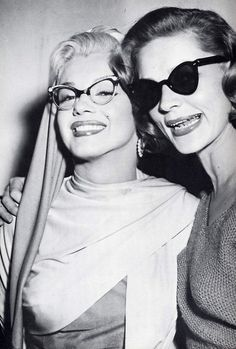 Marilyn in femininely curvy frames and Lauren Bacall looking chic behind a dark lensed pair of sunnies during the 1950s