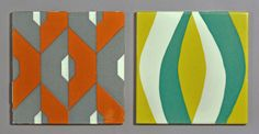 Geometric Carter tiles | Flickr - Photo Sharing! per Rob McRorie:  Screen primted tiles from the late 1950's - the dust pressed tiles had a date on them, these were made for outdoor use (if necessary) from plastic clay, and have no date mark.