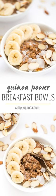 Quinoa Power Breakfast Bowls – Simply Quinoa Kick start your day with these delicious QUINOA POWER BREAKFAST BOWLS! They're a cinch to make, are packed with protein and will keep you energized all day long! Breakfast And Brunch, Power Breakfast, Breakfast Bowls, Avacado Breakfast, Fodmap Breakfast, Frozen Breakfast, Breakfast Sandwiches, Vegan Breakfast, Mexican Breakfast