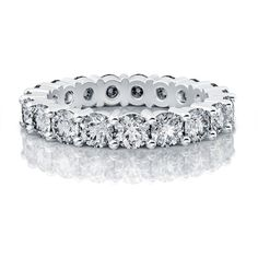 3.40ctw Round Eternity Diamond Wedding Band in 18k White Gold SI H-I... ($4,999) ❤ liked on Polyvore featuring jewelry, rings, 14k diamond ring, eternity band ring, diamond rings, diamond band ring e 14k white gold ring
